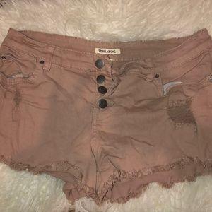 billabong mauve button up shorts